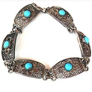 ANTIQUE SPUN STERLING SILVER Floral Link Bracelet